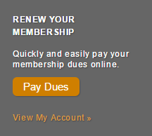 Image links to the AAFP to renew membership. Text on image reads Renew Your Membership. Quickly and easily pay your membership dues online. Pay Dues. View My Account.